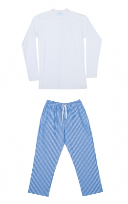 Homewear Oxford color azul rayado en blanco y perfil rojo